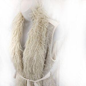 Double Zero Faux Fur Tweed Belted Vest